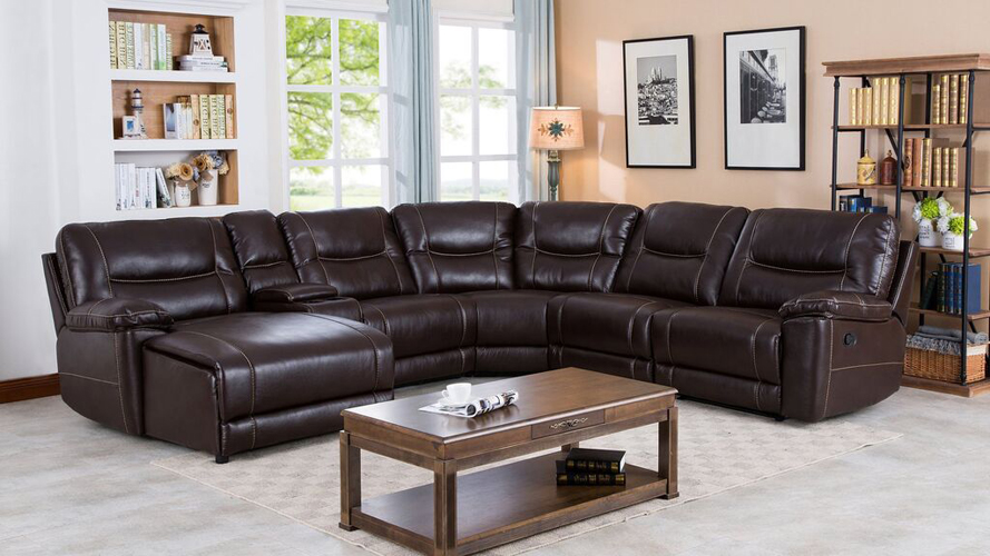 Barrington Recliner Leather Gel Left Facing Chaise Sectional in Brown