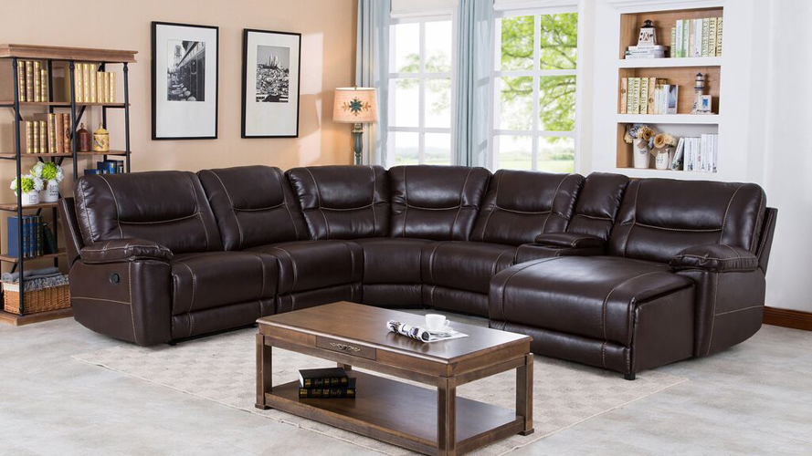 Barrington Recliner Leather Gel Right Facing Chaise Sectional in Brown