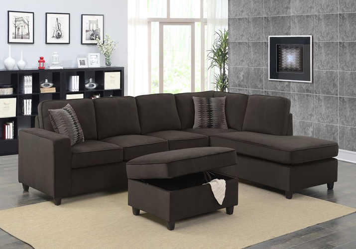 Corvin Reversible Sectional with Storage Ottoman in Chocolate Polyester Fabric