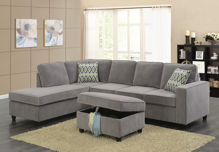 Corvin Reversible Sectional with Storage Ottoman in Gray Polyester Fabric