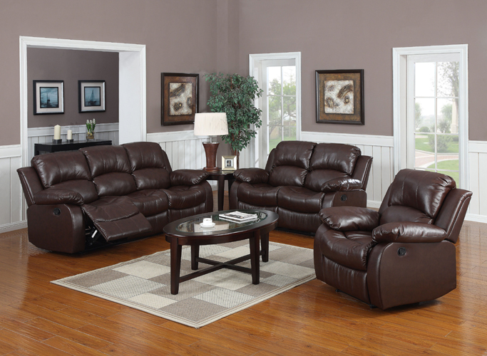 Kaden Bonded Leather Recliner Sofa in Brown