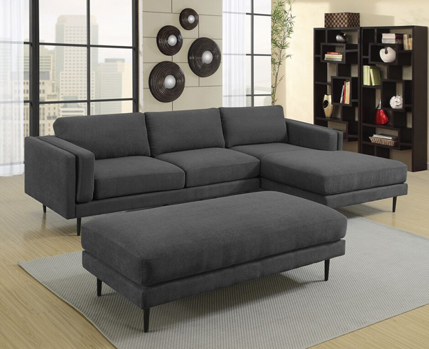Colton Charcoal Ottoman in Polyester Fabric