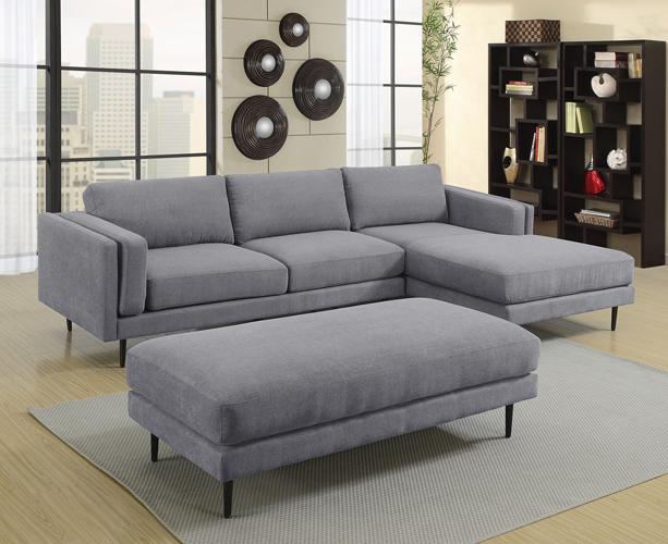 Colton Gray Ottoman in Polyester Fabric