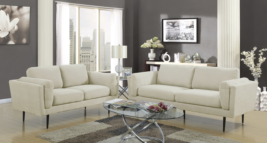 Colton Beige Loveseat in Polyester Fabric
