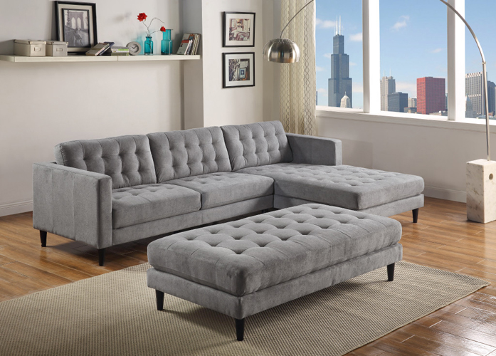 Liam Gray Sectional in Polyester Fabric