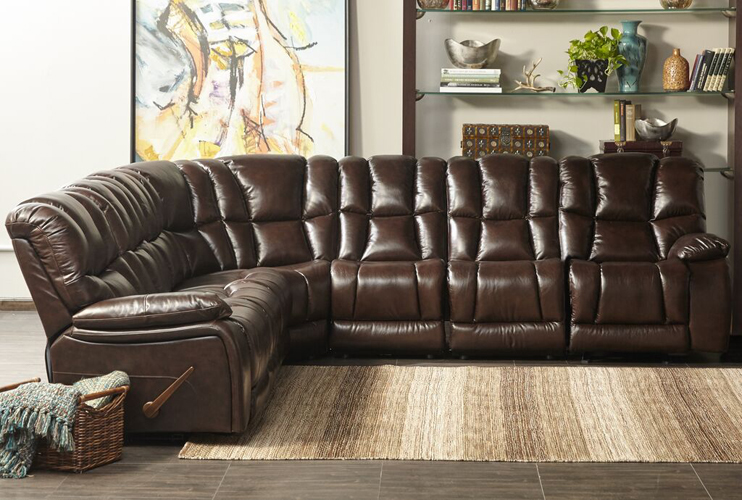 Augusta Leather Match Recliner Sectional in Chocolate Color
