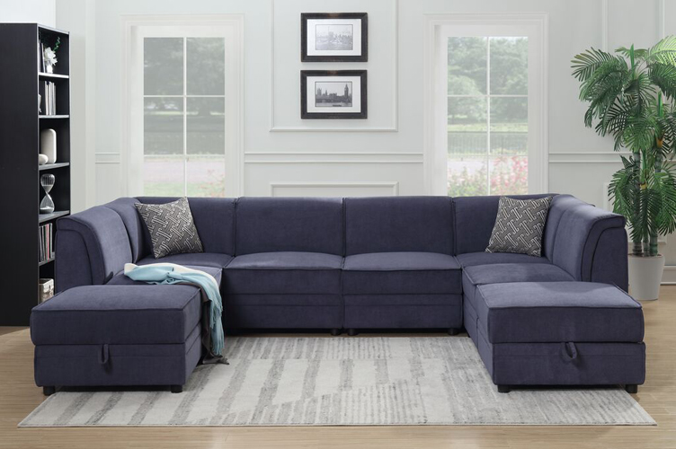 Charlotte Blue Modular Sectional, w/ 2 Ottomans