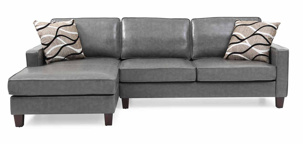 Glenbrook Gray Faux Leather Sectional