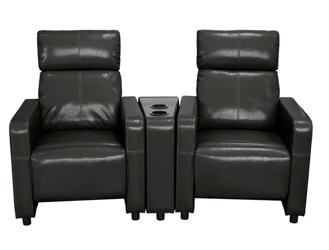 Arcadia Push Back 2-Piece Home Theater Set in Black Faux Leather