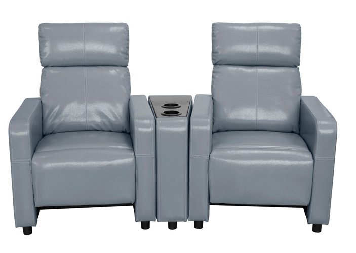 Arcadia Push Back 2-Piece Home Theater Set in Gray Faux Leather