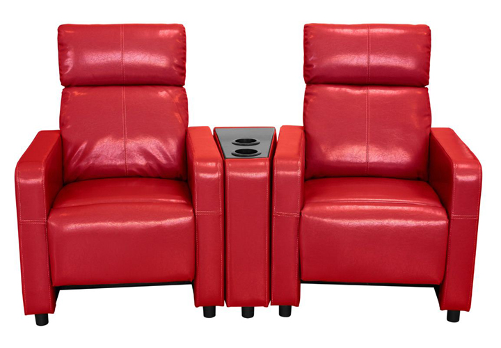 Arcadia Push Back 2-Piece Home Theater Set in Red Faux Leather