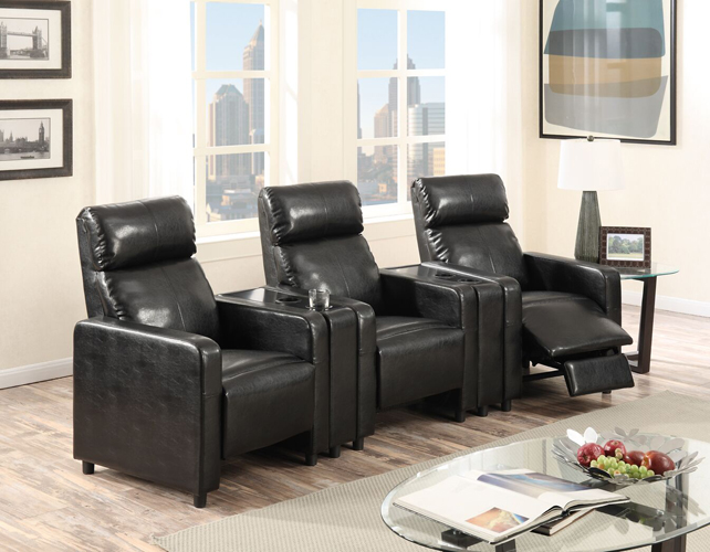 Arcadia Push Back 3-Piece Home Theater Set in Black Faux Leather