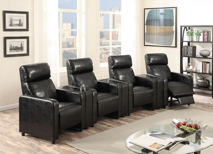 Arcadia Push Back 4-Piece Home Theater Set in Black Faux Leather