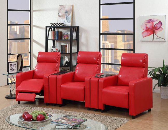 Arcadia Push Back 4-Piece Home Theater Set in Red Faux Leather