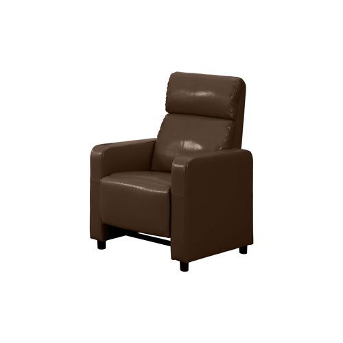 Arcadia Push Back Recliner Chair in Brown Faux Leather