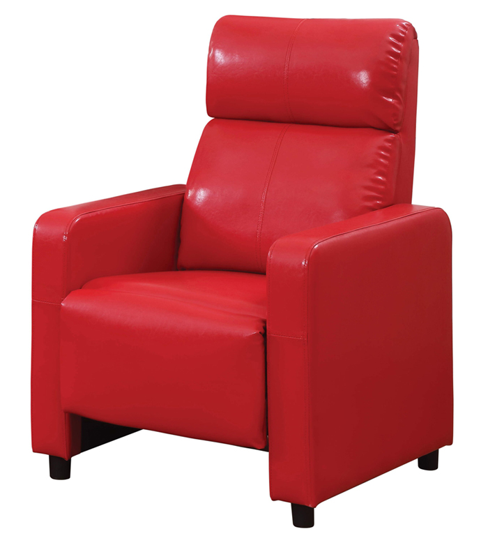 Arcadia Push Back Recliner Chair in Red Faux Leather
