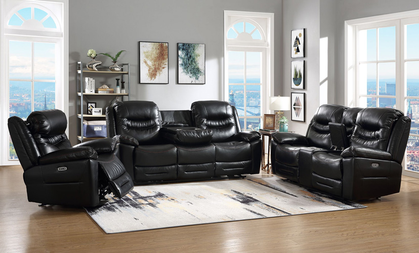 Living RoomGarrett Power Loveseat w/Power Headrest & Console, Black