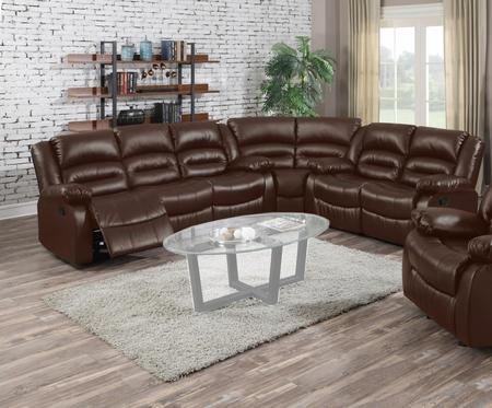 Branson Brown Leather Recliner Sectional