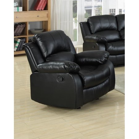 Kaden Bonded Leather Recliner in Black