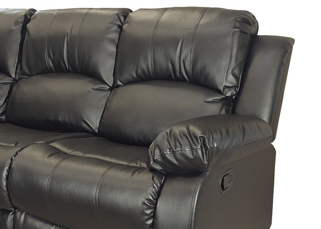 Kaden Bonded Leather Recliner Console Loveseat in Black