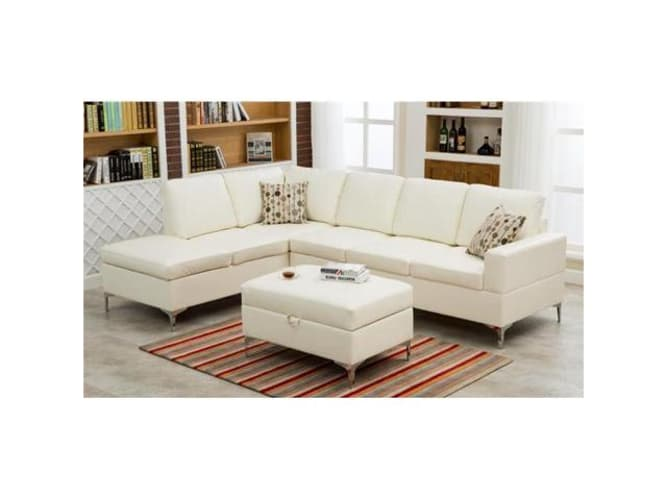 Colton Beige Ottoman in Polyester Fabric