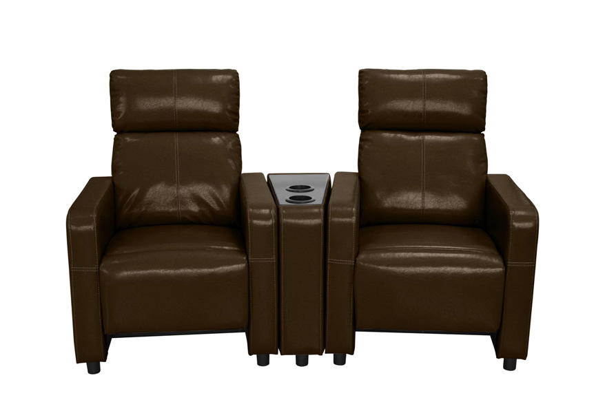 Arcadia Push Back 2-Piece Home Theater Set in Brown Faux Leather