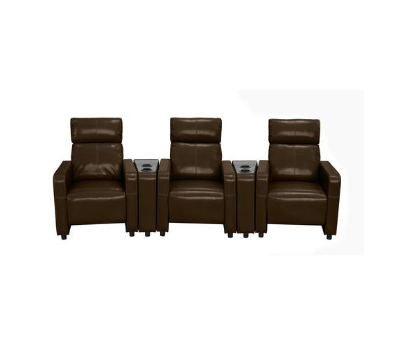 Arcadia Push Back 3-Piece Home Theater Set in Brown Faux Leather