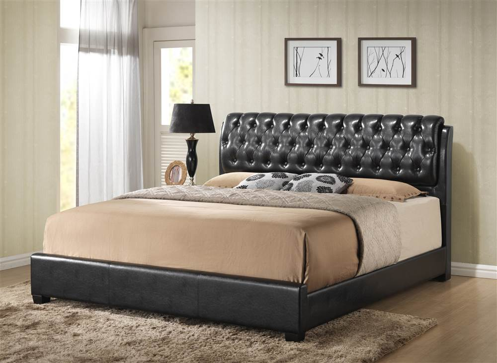 Barnes Full Bed in Black Faux Leather in Black Faux Leather