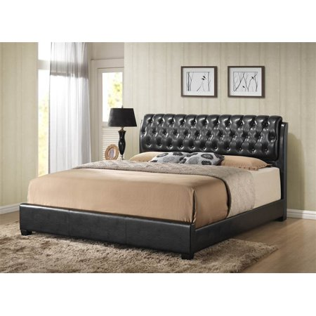 Barnes Queen Bed in Black Faux Leather in Black Faux Leather