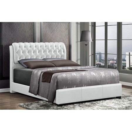 Barnes King Bed in White Faux Leather in White Faux Leather in White Faux Leather