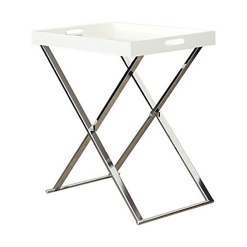 Chrome White Chairside Accent Serving Tray Table