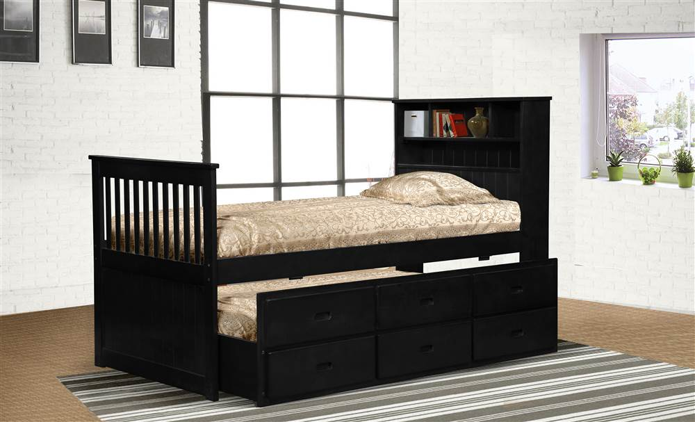 Avalon Twin Captain's Bed with Twin Trundle & Storage in Black Finish