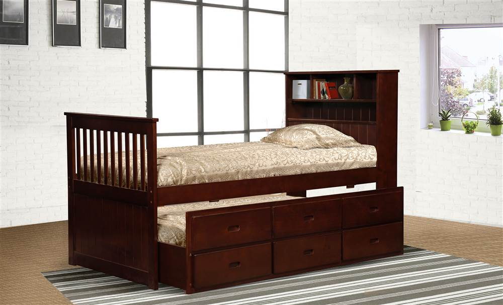 Avalon Twin Captain's Bed with Twin Trundle & Storage in Cherry Finish