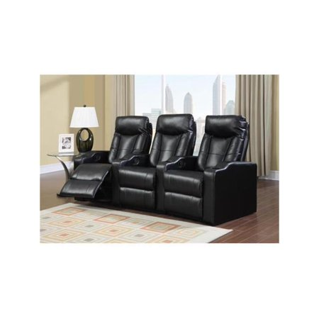 Camden Bonded Leather 2-Piece Home Theater Set in Black