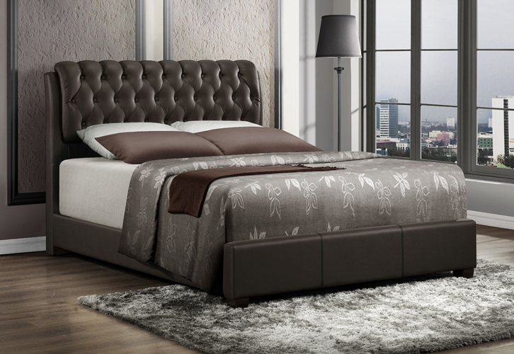 Barnes Queen Bed in Brown Faux Leather in Brown Faux Leather