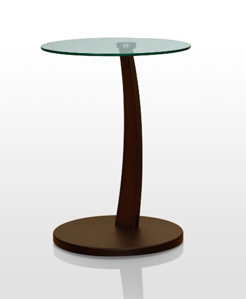 Brown Chairside Accent Round  End Table
