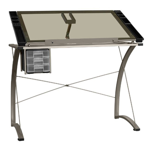 Glass Writing Desk Drafting Craft Station Table