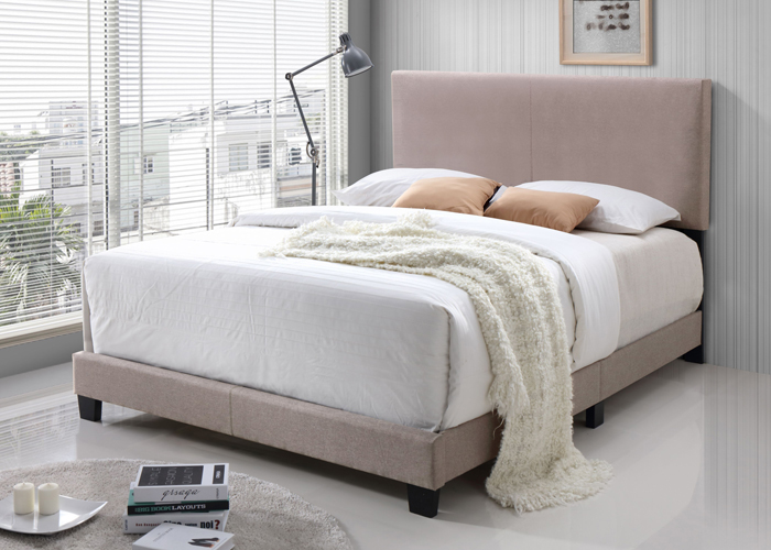 Jessica Cream Queen Bed in Polyester Fabric