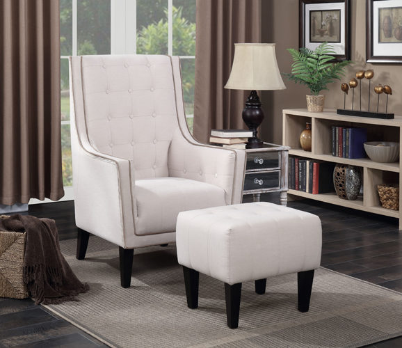 Barton Beige Accent Arm Chair and Ottoman