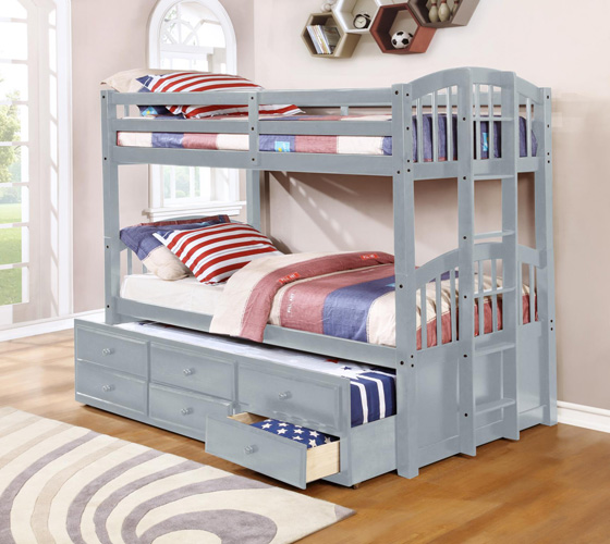 Bedroom Menlo Twin over Full Bunkbed, Gray