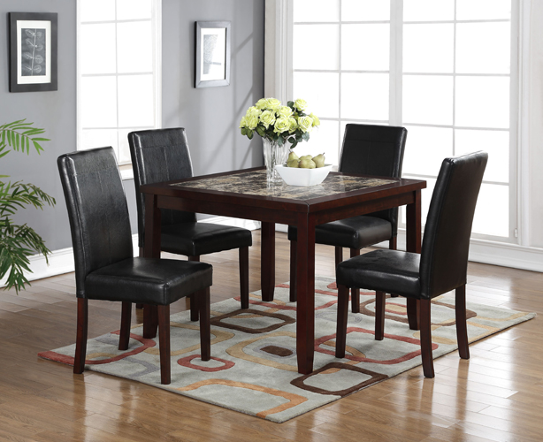 Albany 5 Pc Square Faux Marble Dining Table and Chairs Set