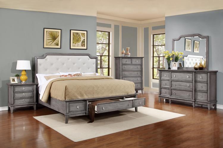 Anastasia Queen Storage Platform Bed in Gray