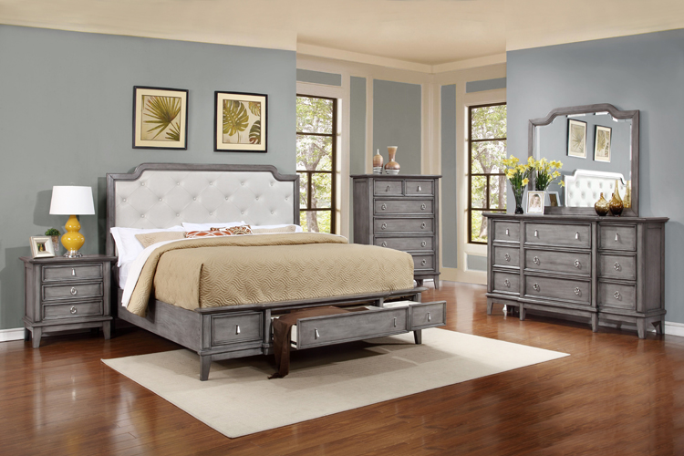 Anastasia King Storage Platform Bed in Gray