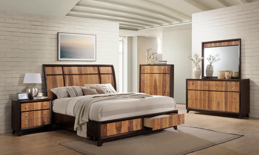 Ava 2-Tone Brown & Natural Storage Platform Queen Bed