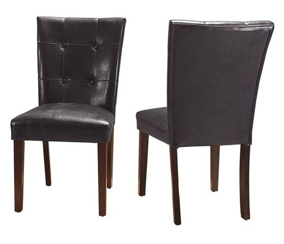 Crescent Brown Faux Leather Parsons Chair