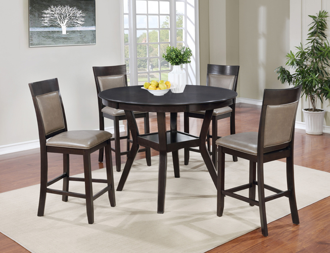 Cory 5Pc Espresso Pub Table & Chairs Dining Set