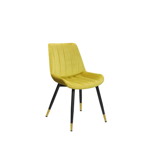 Enzo Velvet Accent Chair, Yellow