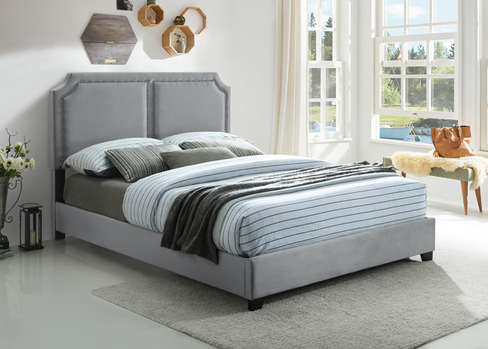 Bedroom Kimberly Nailhead Queen Bed, Gray