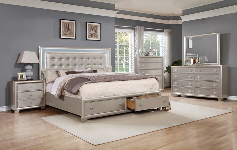 BedroomMariano Storage Queen Bed with LED and Faux Leather Headboard
