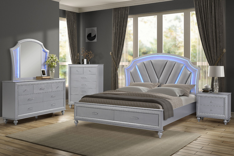 BedroomVincent Queen Storage Bed with LED Lights